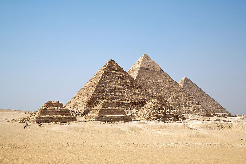 Pyramids at Giza, photo by Ricardo Liberato from Wikipedia
