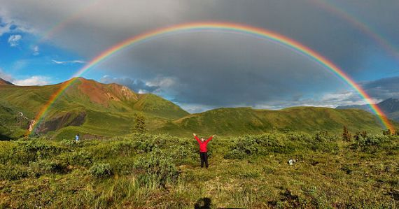 Double rainbow in Alaska, from Wikipedia, photo by Eric Rolph