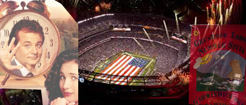 A Super Bowl stadium collaged with two images depicting Groundhog Day