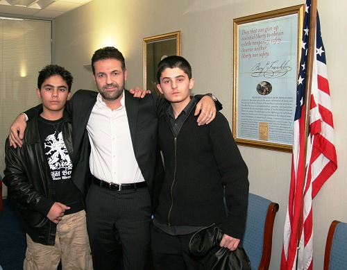 Khaled Hosseini with the two main actors in The Kite Runner.