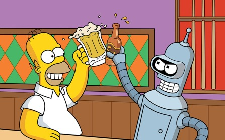 Homer Simpson drinking with a friend