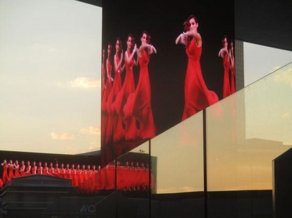 Woman in red is reflected and stylized in this Las Vegas photo